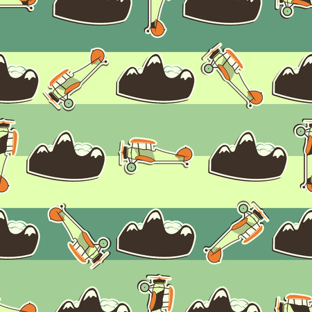 avion caricatura: aeroplano lindo patr�n. estilo de dibujo. de fondo sin fisuras de edad biplanos con aviones de dibujos animados, de la monta�a. Papel pintado retro de los aviones y elementos de dise�o. Mejor para los regalos de los ni�os, las agencias de viajes. Vector.