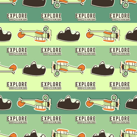 vintage airplane: Cute airplane pattern. Doodle style. Old Biplanes seamless background with cartoon plane, mountains. Retro aircraft wallpaper and design elements. Best for kids gifts, travel companies. Vector.