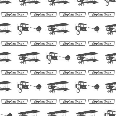 ヴィンテージ飛行機ツアー パターン。古い複葉機のリボンとのシームレスな背景。レトロな飛行機の壁紙やデザイン要素。航空スタイル。飛ぶプロペラ、古いアイコンは、分離されました。ベクトル モノクロ。