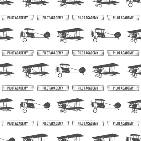 airplane: Vintage pilot academy pattern. Old Biplanes seamless background with ribbon. Retro Airplane wallpaper and design elements. Aviation style. Fly propeller, old icon, isolated. Vector monochrome.