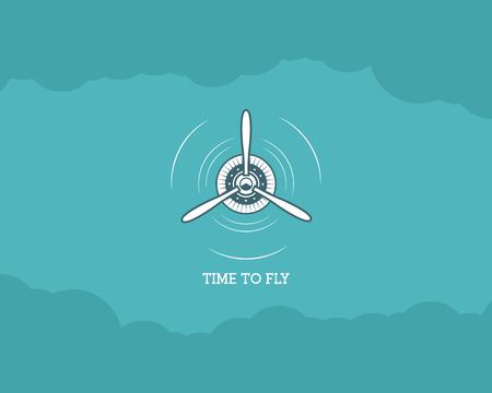 biplane: Vintage Airplane background with sky. Propeller emblem. Biplane label. Retro Plane wallpaper, design elements. Old prints for t shirt. Aviation brochure, flyer. Travel inspiration poster Illustration