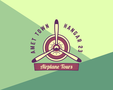biplane: Airplane propeller emblem. Biplane label. Retro Plane badge, design elements. Vintage prints for t shirt. Aviation stamp. Air show logo. Travel logotype. Isolated on funny background. Vector. Illustration
