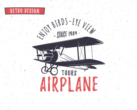 Airplane emblem. Biplane label. Retro Plane badges, design elements. Vintage prints for t shirt. Aviation stamp. Air tour logo. Travel logotype. Isolated on white textured background. Vector.