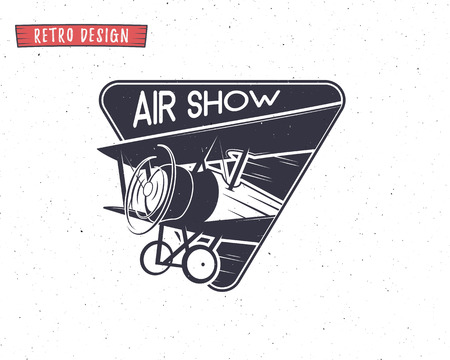 biplane: Airshow emblem. Biplane label. Retro Airplane badges, design elements. Vintage prints for t shirt. Aviation stamp. Aircraft logo. Travel logotype. Isolated. Print on t shirt or for web sites. Vector.