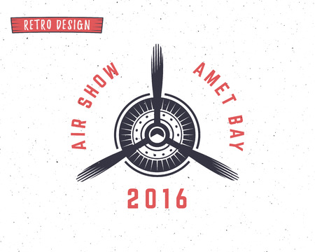 Airplane propeller emblem. Biplane label. Retro Plane badge, design elements. Vintage prints for t shirt. Aviation stamp. Air show logo. Travel logotype. Isolated on white textured background. Vector. Vectores