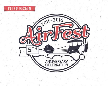 Air fest emblem. Biplane label. Retro Airplane badges, design elements. Vintage prints for t shirt. Aviation stamp. Aircraft logo. Travel logotype. Isolated on white textured background. Vector. Ilustração