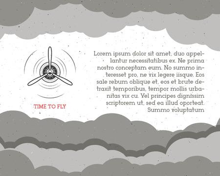 biplane: Vintage Airplane background with sky. Propeller emblem. Biplane label. Retro Plane wallpaper, design elements. Old prints for t shirt. Aviation brochure, flyer. Travel motivational poster