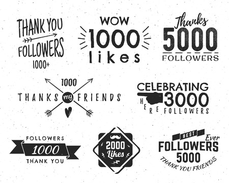like: Set of vintage Thank you badges. Social media Followers labels and likes stickers. Handwriting lettering with hipster elements - ribbons, frames, sunbursts, beard. Vector design on retro background.