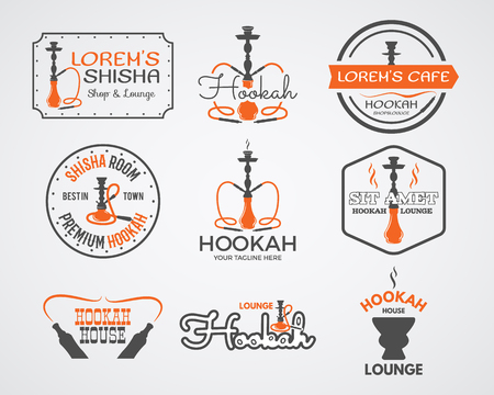 hookah: Hookah labels, badges and design elements collection. Vintage shisha logos set. Lounge cafe emblems.  Best for relax Arabian bar or house, shop. Isolated vector illustration