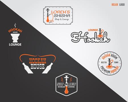 shisha: Set of Hookah relax labels, badges and design elements in 2 color variations. Vintage shisha logo. Lounge cafe emblem.  Arabian bar or house, shop insignia Isolated vector illustration. Relaxing stamp
