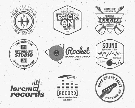 recording studio: Set of vector music production ,label, sticker, emblem, print or  with elements - guitar, sound recording studio, t-shirt, sound production. Podcast and radio badges, typography design.