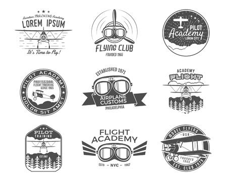 Vintage vliegtuig emblemen. Tweedekker labels. Retro Plane badges, design elementen.