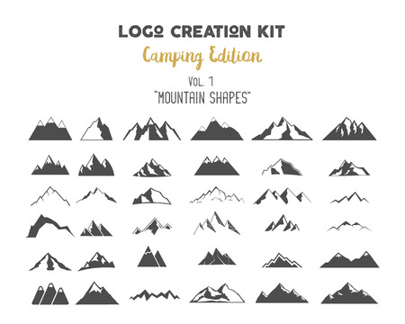 Camping Edition set Mountain vector shapes and elements. Create your own outdoor label, wilderness retro patch, adventure vintage badges, hiking stamps. Check out all volumes Çizim