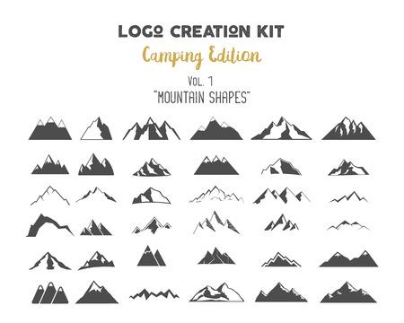 Camping Edition ustawić górskie kształty wektorowe i elementy. Stwórz swoją własną etykietę na świeżym powietrzu, pustynia retro łatkę, Przygody rocznika odznaki, turystyka znaczki. Sprawdź wszystkie tomy