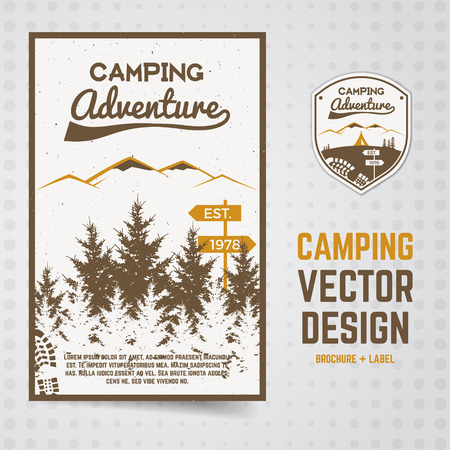 Camping adventure vector brochure and label. The concept of flyer for your business web sites, presentations, advertising etc. Quality design illustrations, elements. Flat outdoor style. National park
