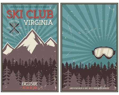 레트로 여름 또는 겨울 휴가 포스터입니다. 여행 및 휴가 안내 책자 캠핑 홍보 배너입니다. 빈티지 고글, 산, 나무, 스키 스노우 보드 벡터 디자인 개념