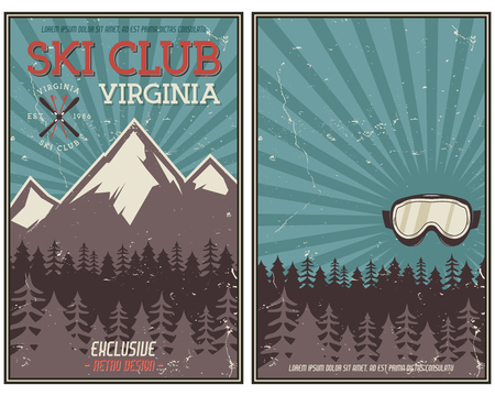 Retro summer or winter holiday poster. Travel and vacation brochure Camping promotional banner. Vintage goggles, mountains, trees, ski snowboard vector design concept elements. Motivational lettering