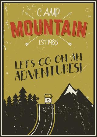 레트로 여름 또는 겨울 휴가 포스터입니다. 여행 및 휴가 팜플렛. 캠핑 프로모션 배너. 빈티지 RV, 산, 나무, 화살표 벡터 디자인 개념, 요소입니다. 동기
