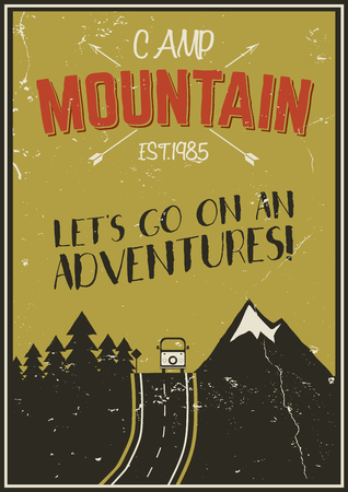 Retro summer or winter holiday poster. Travel and vacation brochure. Camping promotional banner. Vintage RV, mountains, trees, arrows vector design concept, elements. Motivational lettering, sign ads.