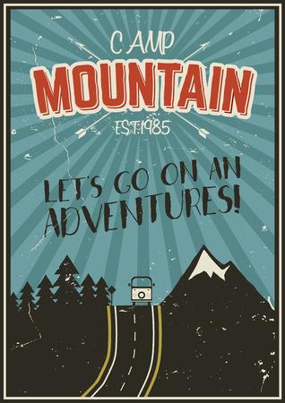 été Retro ou affiche des vacances d'hiver. Voyage et brochure de vacances. Camping promo bannière. RV Vintage, les montagnes, les arbres, concept flèches vecteur, éléments. lettrage de motivation Vecteurs