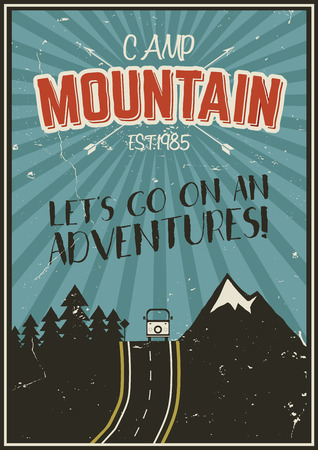 rv: Retro summer or winter holiday poster. Travel and vacation brochure. Camping promo banner. Vintage RV, mountains, trees, arrows vector design concept, elements. Motivational lettering