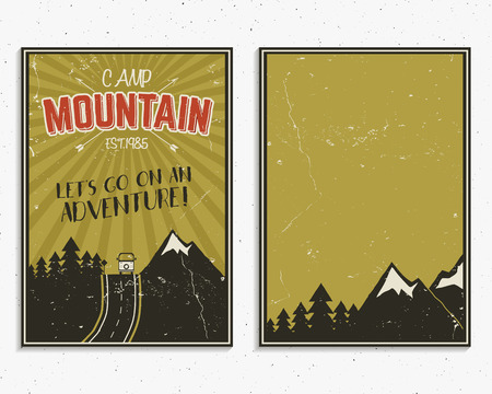 rv: Retro summer or winter holiday posters. Travel and vacation brochure. Camping promotional banner. Vintage RV, mountains, trees, arrows vector design concept, elements. Motivational lettering, sign