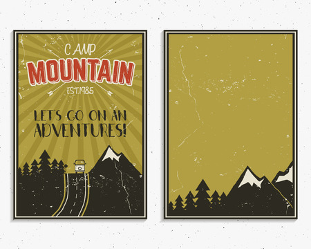 national park: Retro summer or winter holiday posters. Travel and vacation brochure. Camping promotional banner. Vintage RV, mountains, trees, arrows vector design concept, elements. Motivational lettering, sign