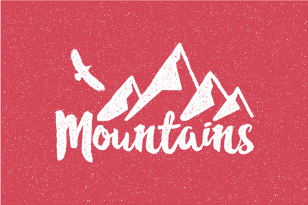 retro wear: Hand drawn wilderness old style typography poster with retro mountains and eagle Letterpress Print, Rubber Stamp Effect Explore more Artwork for hipster wear. vector Inspirational vintage illustration