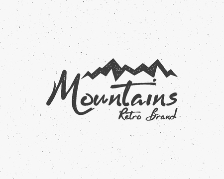 wilderness: Hand drawn wilderness old style typography poster with retro mountains Letterpress Print Rubber Stamp Effect. Scratch background. Artwork for hipster wear. vector Inspirational vintage brand design Illustration