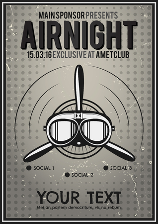 halftone cover: Party Leaflet, airplane brochure, cover, club night page layout template. Halftone dotted design, retro minimalistic digital style. Propeller and pilot character design. Dj, music vector flyer.
