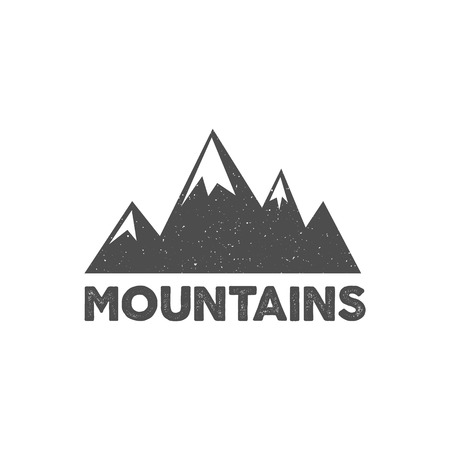 Hand drawn mountain badge. Wilderness old style typography label. Illustration