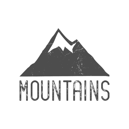 wilderness: Hand drawn mountain badge. Wilderness old style typography label. Letterpress Print