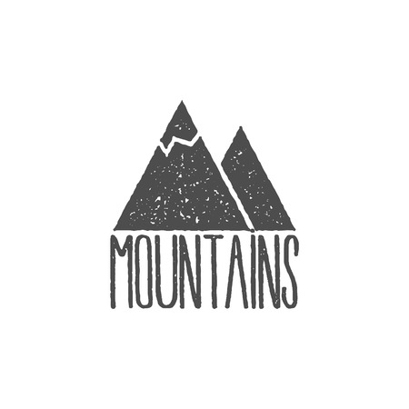 Hand drawn mountain badge Wilderness old style typography label Letterpress Print Rubber Stamp Effect.