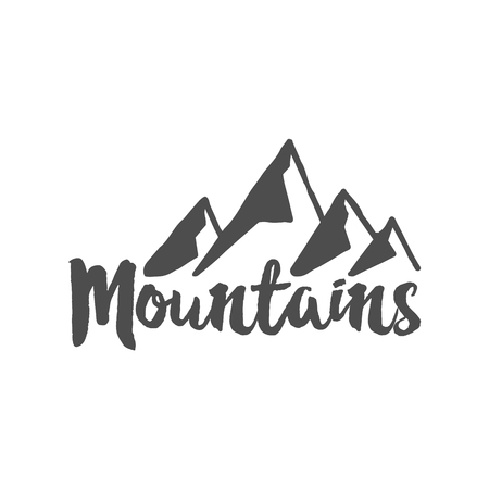 wilderness: Hand drawn mountain badge. Wilderness old style typography label. Illustration