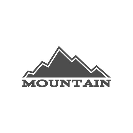 wilderness: Hand drawn mountain badge. Wilderness old style typography label. Letterpress Print Rubber Stamp Effect.
