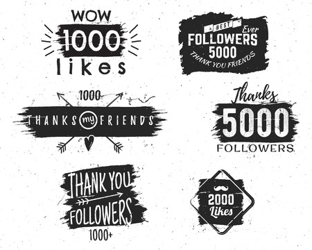 thanks: Set of vintage Thank you badges. Social media Followers labels and likes stickers. Handwriting lettering with hipster elements - ribbons, arrow, sunbursts, beard. Vector watercolor, ink splash design.