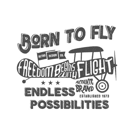 t shirt printing: Vintage airplane lettering for printing. Vector prints, old school aircraft poster. Retro air show t shirt design with motivational text. Typography print design. Biplane style.