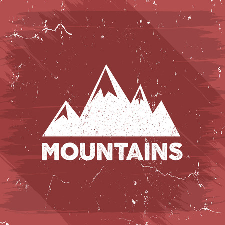 old poster: Hand drawn wilderness old style typography poster with retro mountains. Letterpress Print Rubber Stamp Effect. Watercolor, ink splash background. Mountain label. Vector vintage mountains badge design.