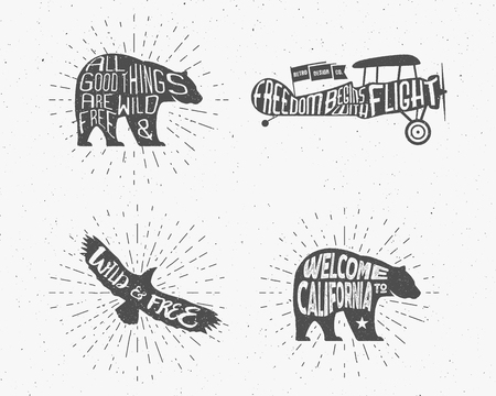 Set of Vintage silhouette hand drawn lettering slogans. Retro monochrome animal design with inspirational typography. Bear, eagle, airplane. Motivation text Wild and free background. Sunburst. Vector Illustration