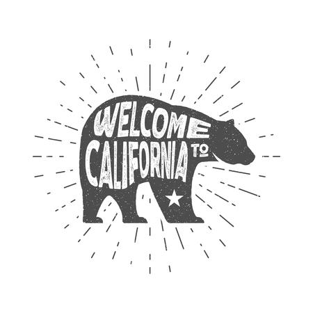 빈티지 캘리포니아 공화국 sunbursts와 함께 곰. 캘리포니아 기호에 오신 것을 환영합니다. 그런 지 효과. 외딴. 손 레터링 디자인을 그려. 입력 체계 텍스