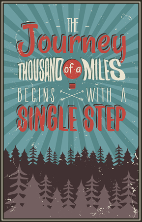Retro travel typography poster with typographical quote - A Journey of a thousand miles begins with a single step. Vector design. Hand drawn Lettering poster with mountains, balloon, trees, sunbursts. Ilustração