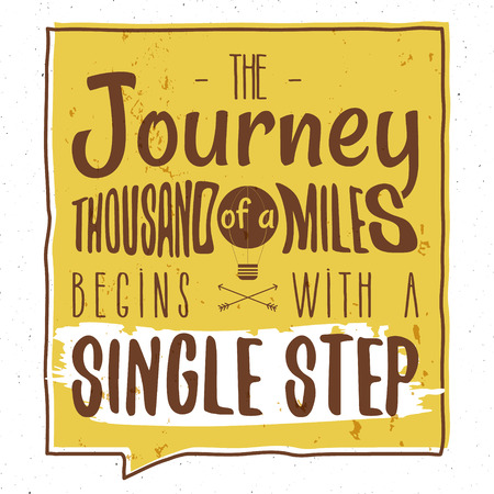 Retro typography Background with typographical quote - A Journey of a thousand miles begins with a single step. Vector design. Hand drawn Lettering poster with arrows, sunburst. Isolated quote form.