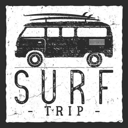 rv: Surf trip concept. Summer surfing retro badge. Beach surfer emblem , rv outdoors , vintage background. Boards, retro car. Surf icon design. For summer surf , label, party