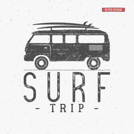 combi: Surf trip concept Summer surfing retro badge. Beach surfer emblem , rv outdoors , vintage background. Boards, retro car. Surf icon design. For summer surf , label, party brochure.