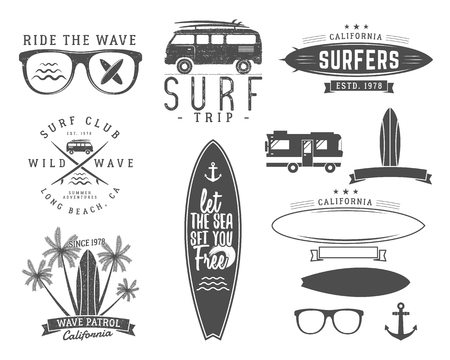 surfer: Set of Vintage Surfing Graphics and Emblems for web design or print. Surfer, beach style design. Surf Badge. Surfboard seal, elements, symbols. Summer boarding on waves. hipster insignia.