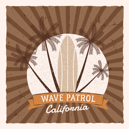 Vintage Surfing Graphics and Poster for web design or print. Surfer, beach style design. Surf Badge. Surfboard seal, elements, symbols Summer boarding wave patrol. Vector hipster insignia, patch