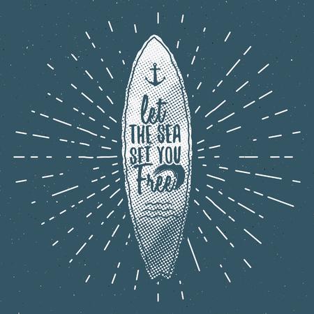 Gráficos de Surf de la vendimia y del cartel para el diseño web o impresión. Persona que practica surf, diseño del estilo de la playa. Insignia de la resaca. sello de la tabla de surf, elementos, símbolos. Verano patrulla de la onda de embarque. Vector inconformista insignias, parches Ilustración de vector