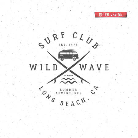 Set of Vintage Surfing Graphics and Emblem for web design or print. Surfer, beach style design. Surf Badge. Surfboard seal, elements, symbols. Summer boarding on waves. hipster insignia.