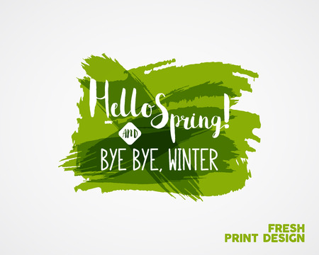 watercolor pen: Hand Lettering Hello spring and bye winter. Brush Pen lettering isolated on watercolor ink splash background. Handwritten vector Illustration. Best for web design or print on t-shirt.