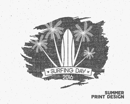 dirty t shirt: Surfing day label graphic elements. Vector Tropical typography emblem on watercolor monochrome background. Surfer party poster with surf symbols - palms. For web design or tee design print, t-shirt. Illustration